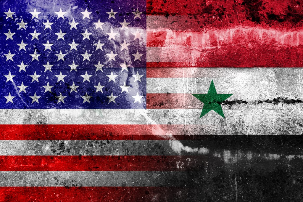 Syrian and U.S. flags