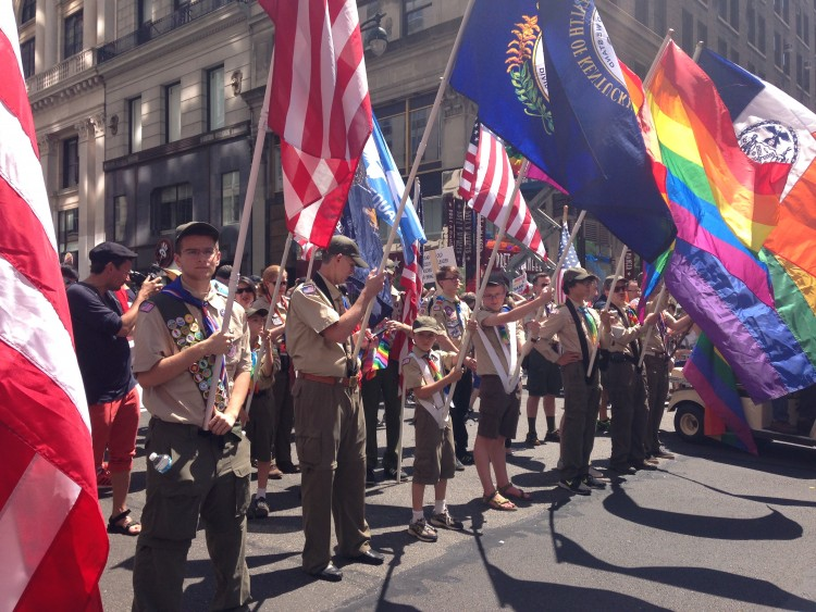 Boy Scouts march in NYC Pride