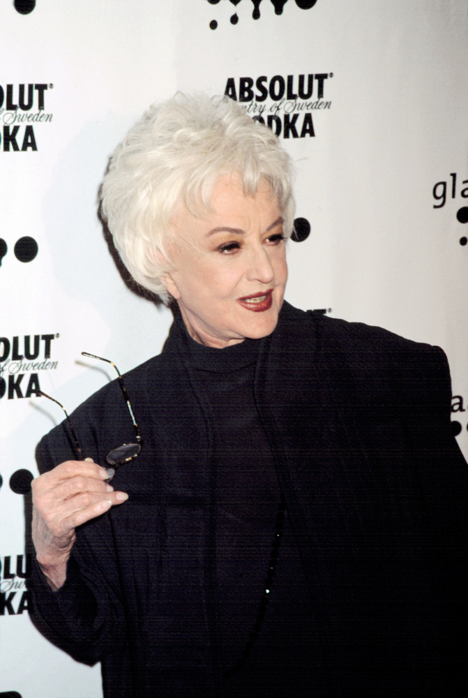 Headshot of Golden Girl sit com star and LGBT supporter, actress Bea Arthur, attending a GLAAD Media Awards.
