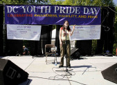 """Spoken word poet Joanna Hoffman performs at the 10th Youth Pride Day Festival at Rock Creek Park in Washington DC. A United States government report conversion therapy—efforts to """"convert"""" LGBT youth to heterosexuality—must stop."""
