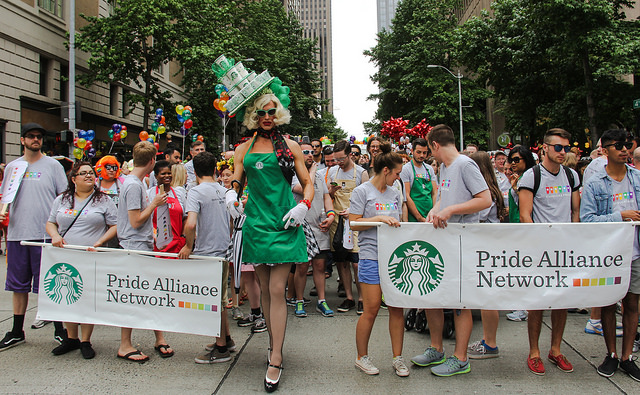 Starbucks workers appear in LGBT Pride parades across the country. Management told homophobic shareholders to sell out and move on.