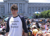 Man wearing a T-shirt celebrating asexuality.