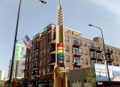 One of the commemorative pylons on the Legacy Walk in Chicago's Boystown—the first officially recognized gay village in the United States.