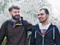 Ukrainian LGBT activits Zoryan Kis (left) and Tymur Levchuk enjoy a walk in Taras Shevchenko Park in Kyiv several days after their wedding on April 9th. They are the first gay couple to marry publicly in their country.