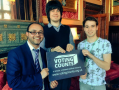 yath Ullah, Jack Welch, and Kieran Max Goodwin celebrate the launch of the UK VotingCounts website.