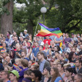 In Loring Park, Minneapolis, MN nearly 3,000 people gathered on June 12th at a vigil in honor of those people from the Orlando, FL LGBT community impacted by the shooter who targeted the Pulse gay nightclub.