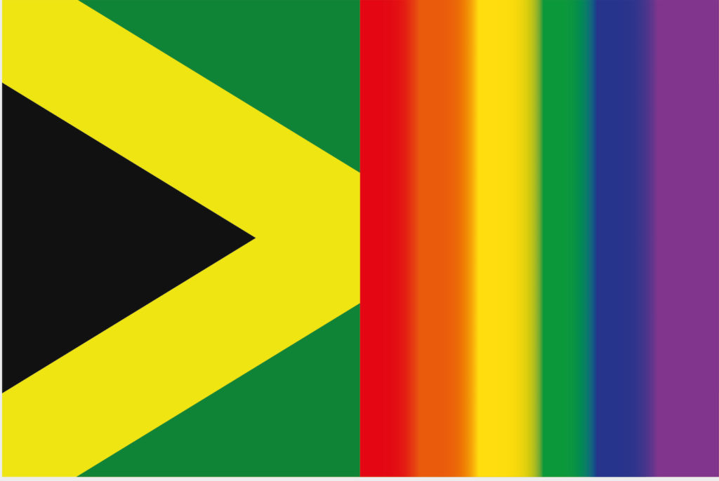An image of the Jamaican flag alongside a rainbow flag.