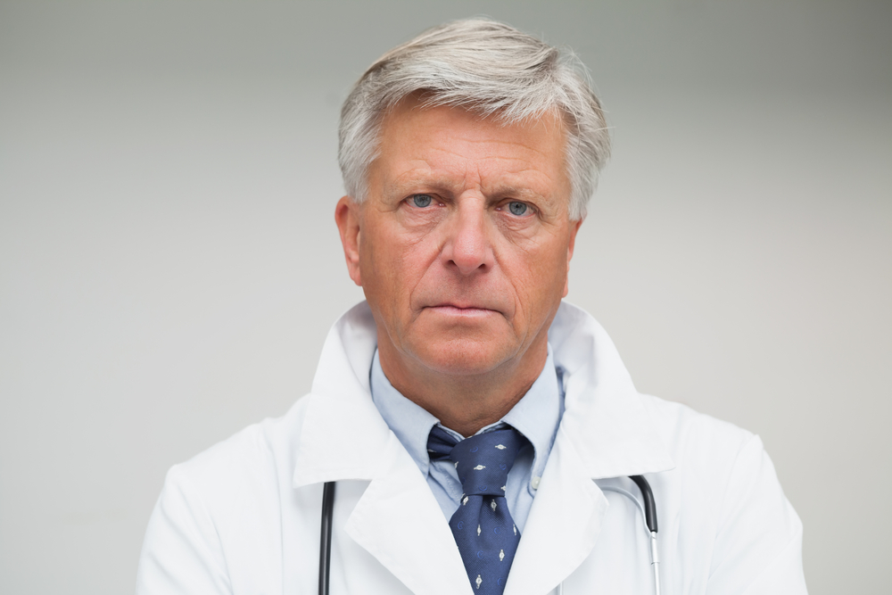A photo of an angry doctor.