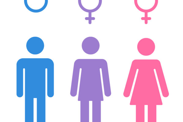 Stick figure depictions of a male figure, a female figure, and an intersex figure.