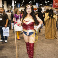 A lady dressed up as Wonder Woman for WonderCon.