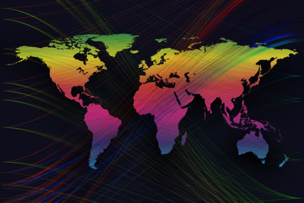 A map of the world decked out in rainbow colors.