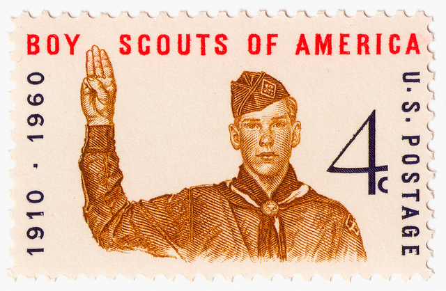 A postage stamp that commemorates the 50th anniversary of the Boy Scouts.