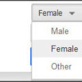 A gender drop-down menu from Google+.