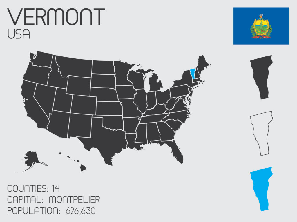 An illustration that shows the state of Vermont on the U.S. map.
