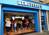 A photo of the outside of a Ben & Jerry's store.