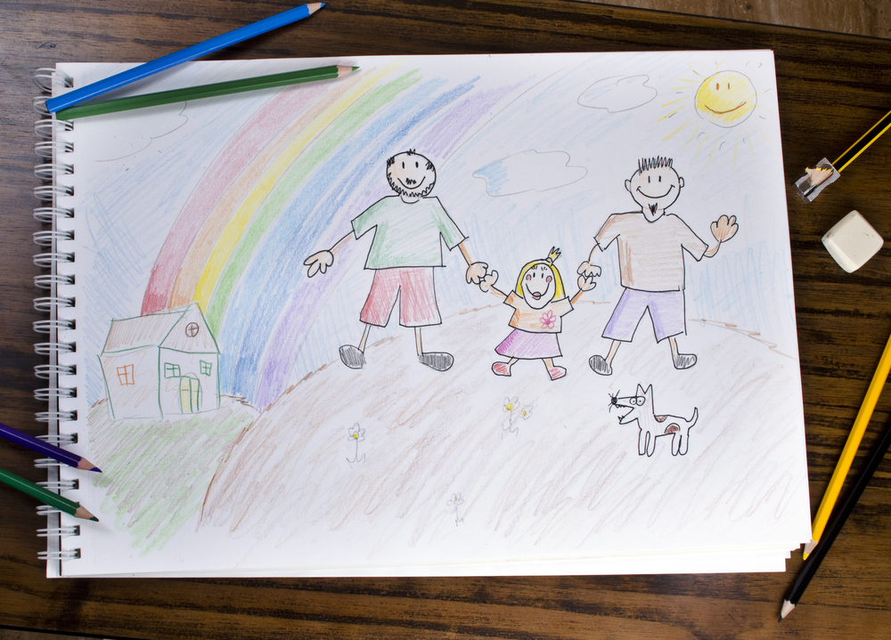 A child's drawing of a family with two dads.