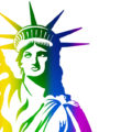 An illustration of the Statue of Liberty featured in rainbow colors.