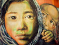 Graffiti art of an immigrant woman and her young son.