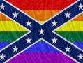 A rainbow-colored Confederate flag.