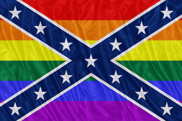 A rainbow-colored Confederate flag.