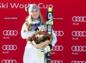 A photo of Lindsey Vonn (USA) after taking first place for the women's downhill race at the 2016 Audi FIS Alpine Ski World Cup.