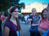A photo of Danica Roem at the Protest Trans Military Ban in Washington, DC on July 26, 2017.