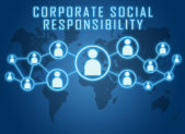 "A graphic titled ""corporate social responsibility"" that shows people connecting all over the world."