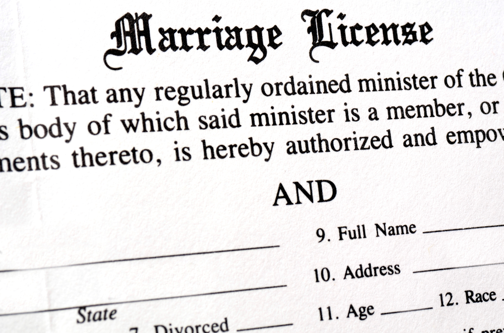 A photo of a marriage license document.