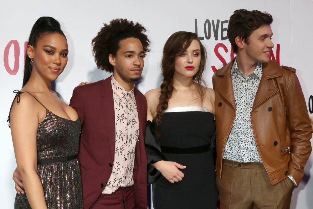 "The cast of ""Love, Simon"" at the Century City Mall Atrium on March 13, 2018 in Century City, CA."