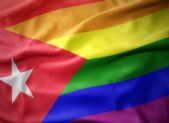 The Cuban flag as shown in rainbow colors, a symbol of same-sex marriage.