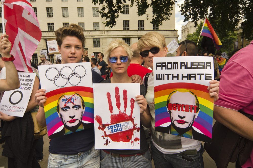 Activists in London protest Russia's anti-gay laws.