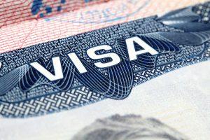 A close-up of a visa document.
