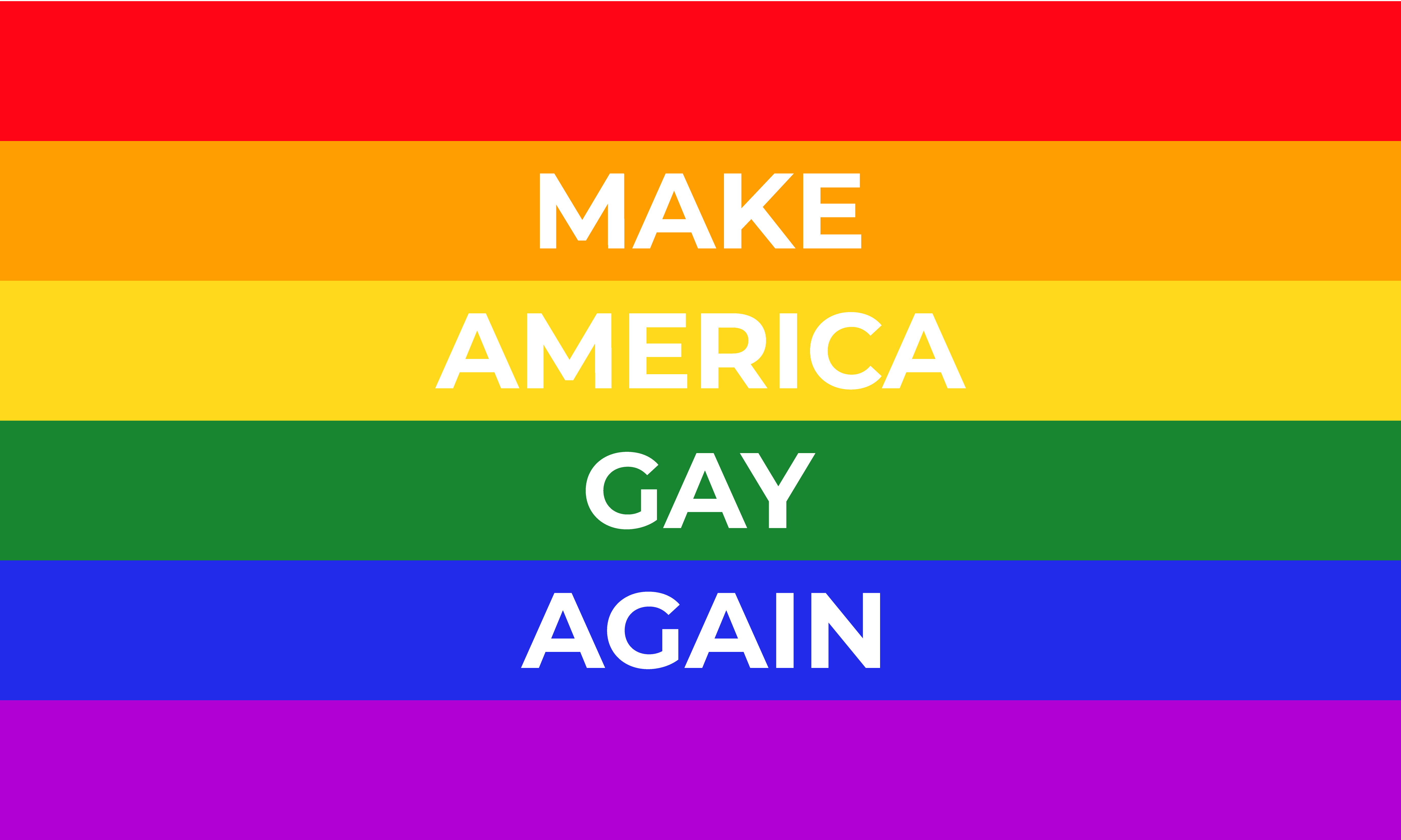 """A rainbow flag with the words """"Make America Gay Again"""" written on it."""