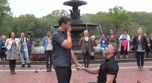 Carl Marucci proposed to his now-fiance, Drew Marsenison, using a flash mob in Central Park.