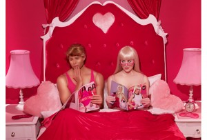 Barbie and Ken reading before bed.