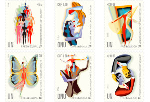 United Nations Free and Equal postage stamps promote LGBT equality around the world.