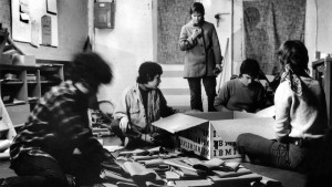 Members of the Washington, D.C. Furies Collective, a group of political lesbians, are packing and distributing their newspaper in 1972 at 219 11th Street SE, Washington, DC. Left to right: Ginny Berson, Susan Baker (not a Fury), Coletta Reid, Rita Mae Brown, Lee Schwing.