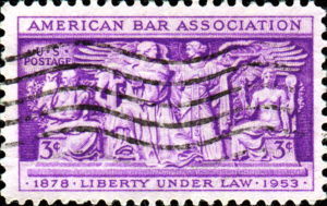 A photo of an American Bar Association postage stamp.