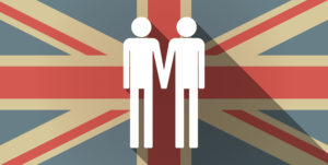 An animated British flag with a superimposed image of two stick figure men holding hands.