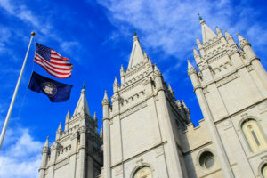 The Temple of the Church of Latter-Day Saints, located in Salt Lake City, Utah.