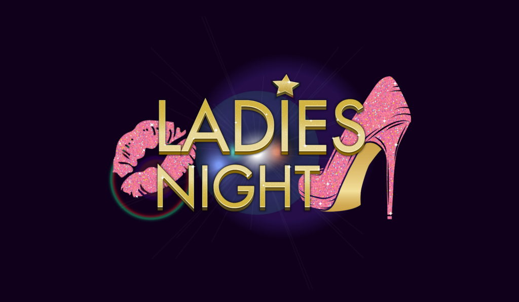 """An image of a high-heel shoe and a pair of lips. The image reads, """"ladies' night."""""""