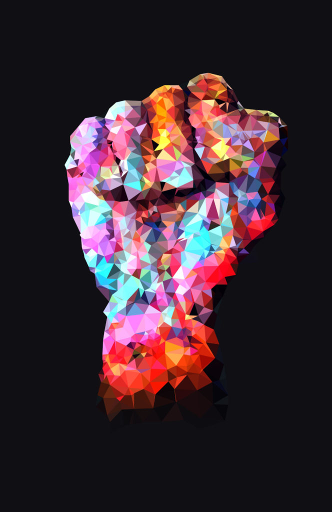 A raised fist, symbolic of the resistance movement, featured in vibrant rainbow colors.