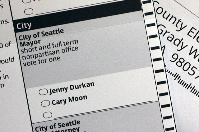 A ballot for Seattle's mayor. The two options listed are Jenny Durkan and Cary Moon.