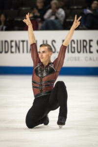 American figure skater Adam Rippon (who has come out as gay) competing in the 2018 Winter Olympics.