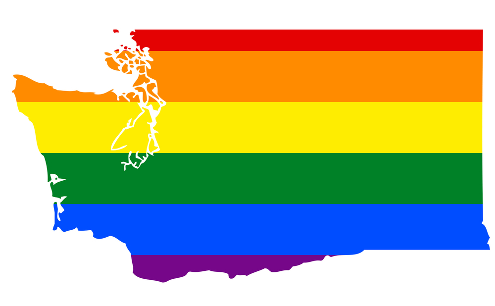 A rainbow map of Washington state.