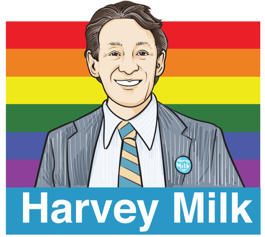 An illustration of civil rights icon Harvey Milk featured against a rainbow flag backdrop.