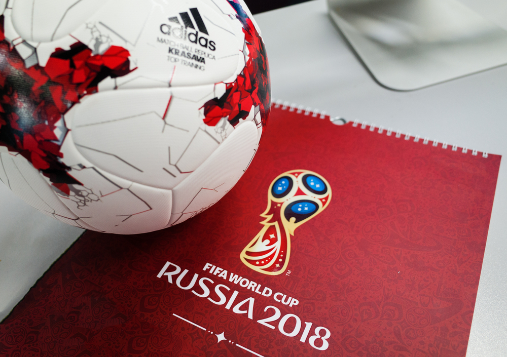 Official ball of the 2018 FIFA World Cup Adidas Krasava and a calendar with the symbols of the World Cup 2018.