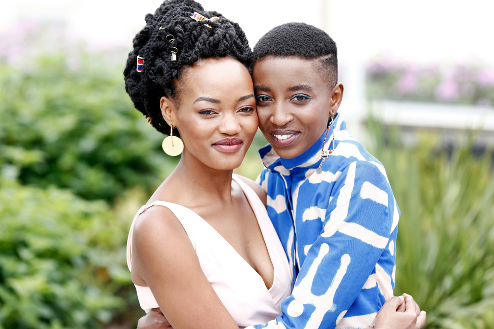 "Actors Sheila Munyiva and Samantha Mugatsia attend the photo-call for ""Rafiki"" during the 71st Cannes Film Festival on May 9, 2018."