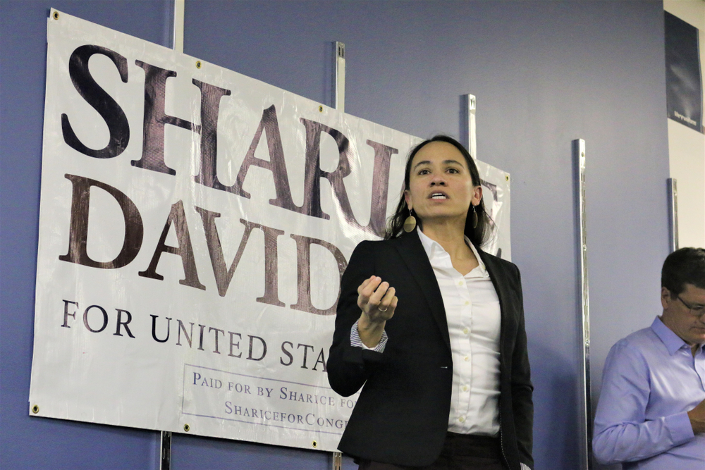 Sharice Davids delivers a speech to supporters at a pre-election rally on November 5, 2018.