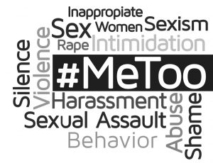 "The term ""#MeToo"" surrounded by other words and phrases related to sexual harassment."